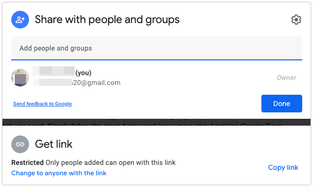 Get Link to share Google Docs