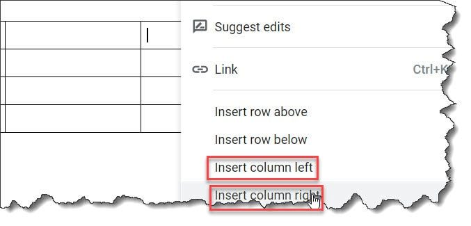 How to add an additional column in the Gogle docs table