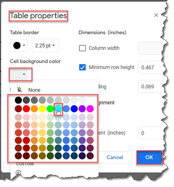 How to change cell background color in Google docs table