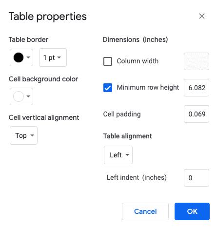 Change Table Properties