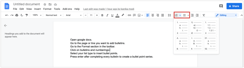How to add Bullet points from toolbar directly
