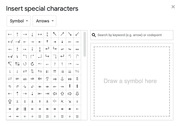Select a symbol from special characters chart