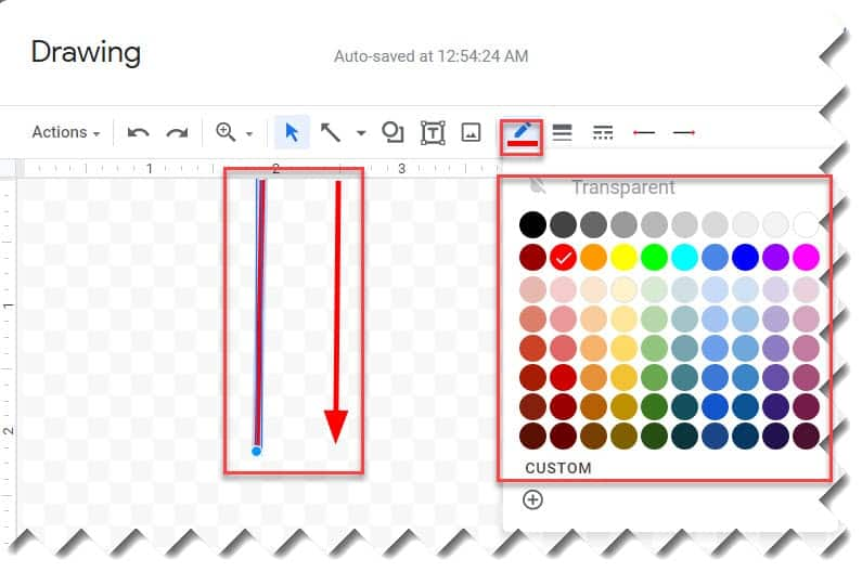 Steps to insert vertical lines in google docs