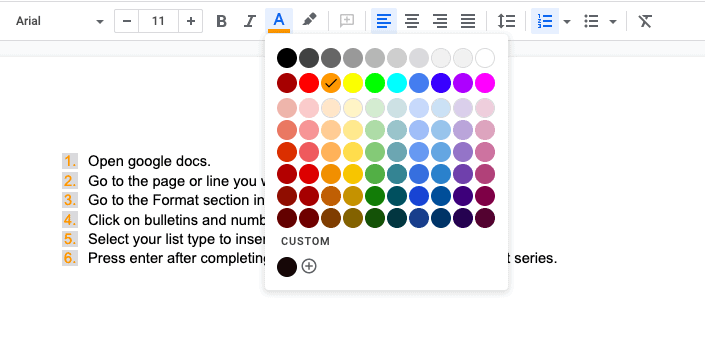 Tap on text color option and select a color