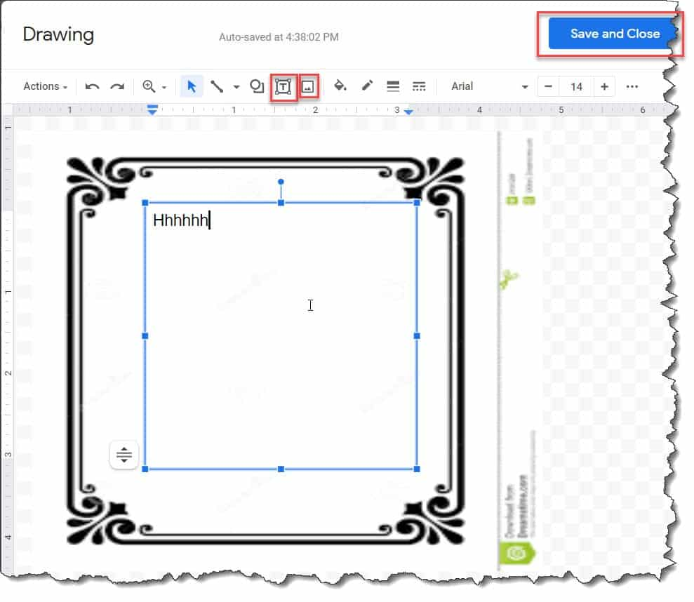 Add a border in Google Docs using An Image