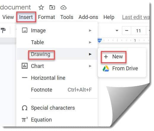 Adding a border in Google Docs using Drawing option