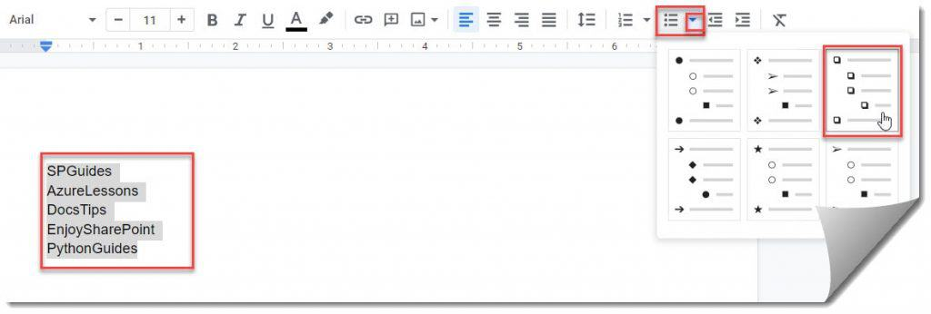 How to add checkbox in Google docs