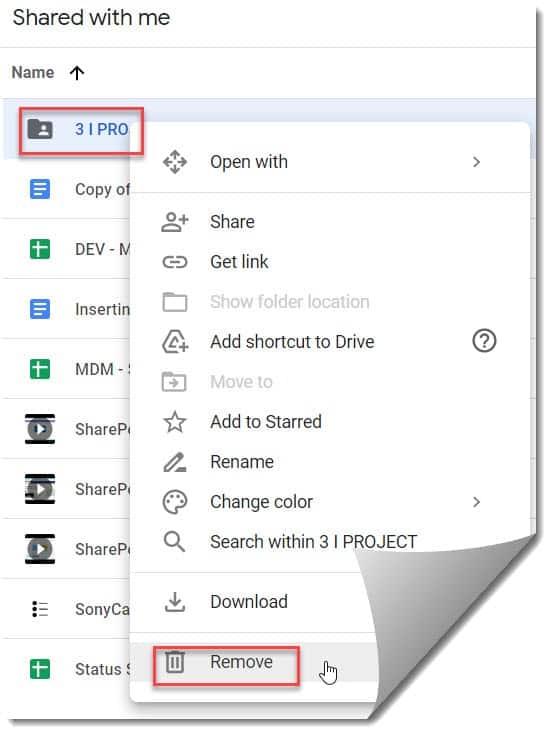 Remove myself from shared folder google drive