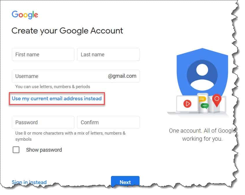 Create Google Account Without Gmail