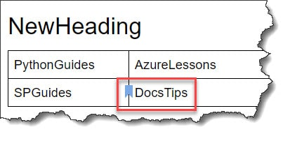 Create a bookmark in Google Docs