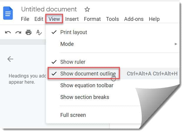 How To View Document Outline In Google Docs