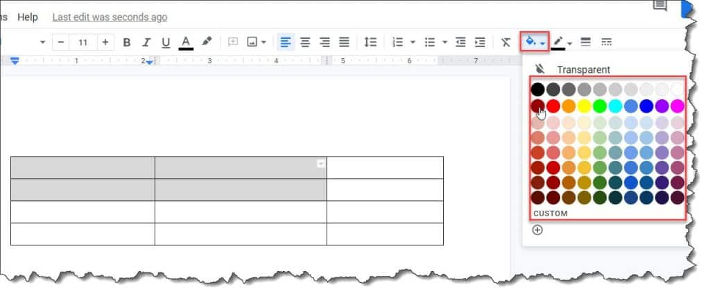 How to Change Background color of a cell in a table on Google Docs