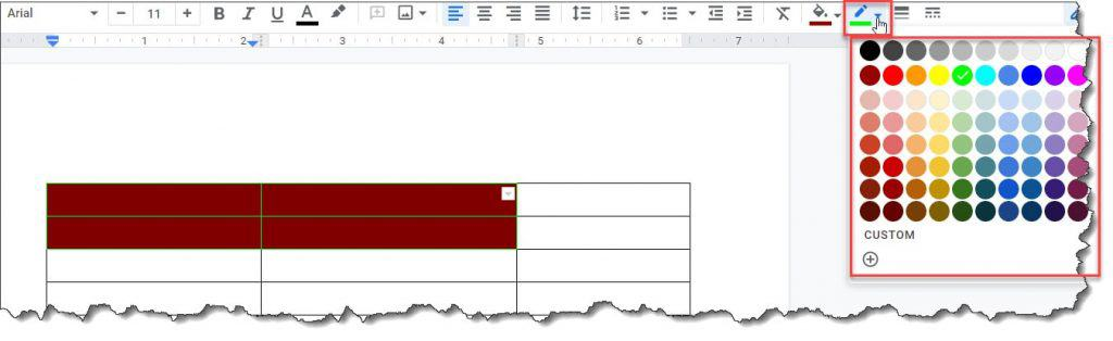 How to Change Border color of a cell in a table on Google Docs