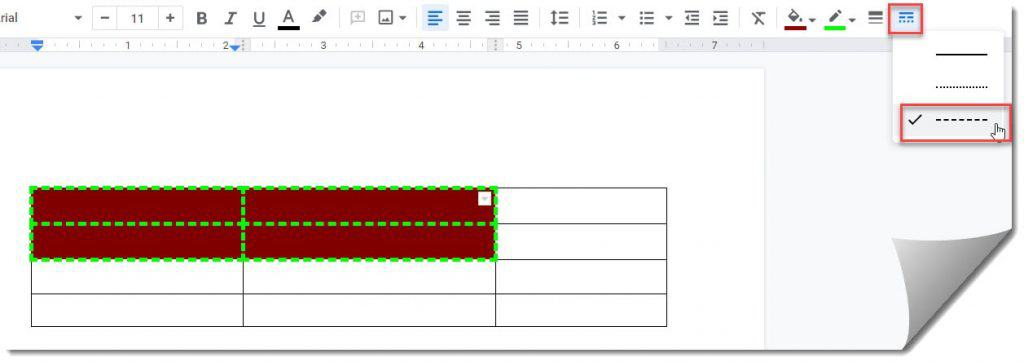 How to Change Border dash of a cell in a table on Google Docs