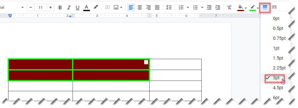 How to Change Border width of a cell in a table on Google Docs