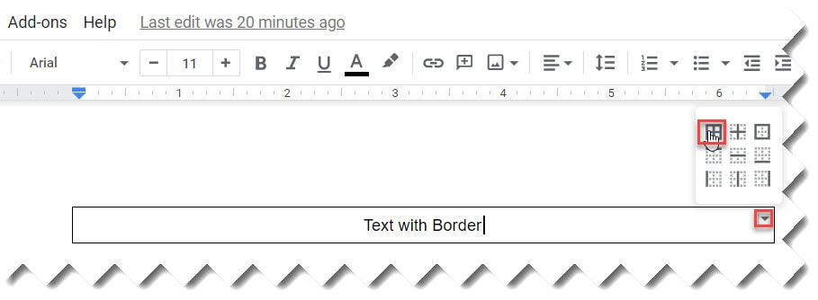 How to insert A Box Around Text In Google Docs Using Single Cell Table