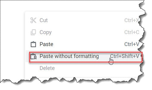 Paste In Google docs Without Formatting