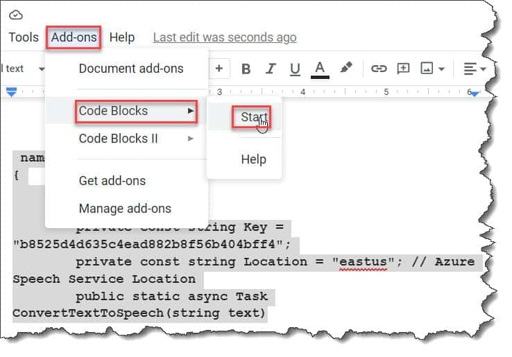 How do I insert a code snippet in Google Docs?