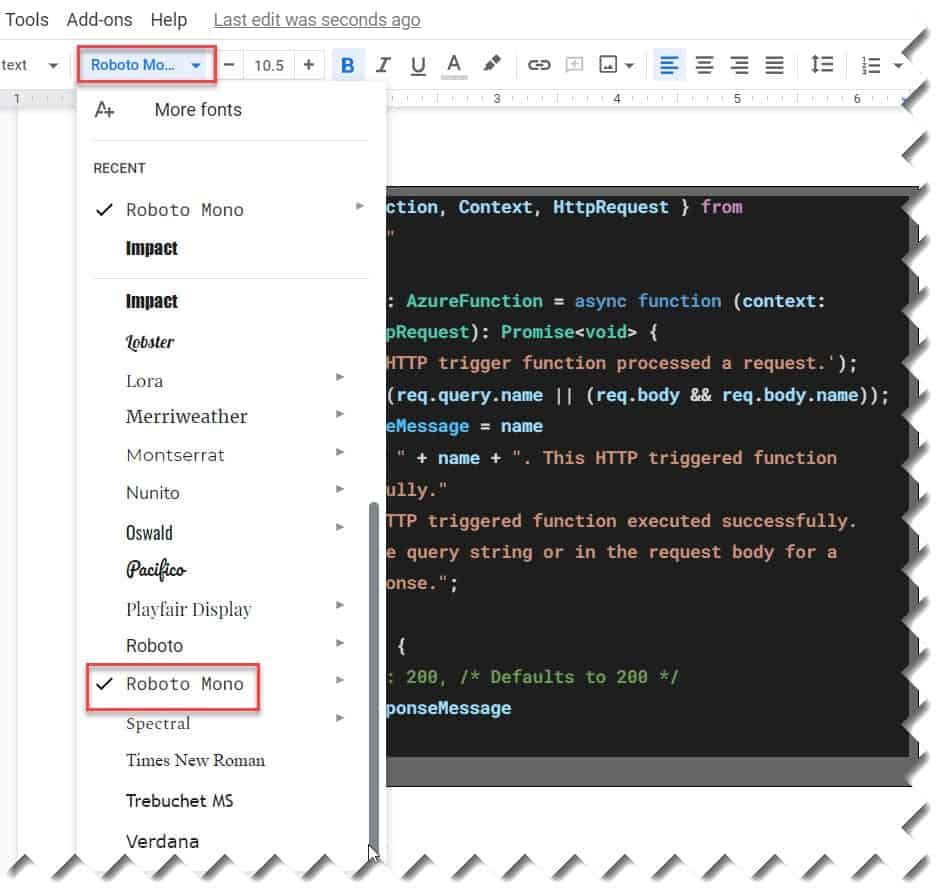 How to Format Code in Google Doc