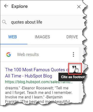 How to add Quotes to Google Docs