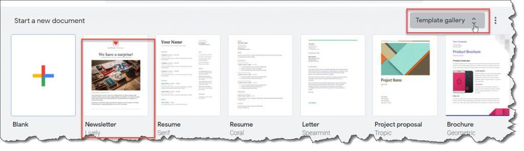 Create a newsletter in Google Docs