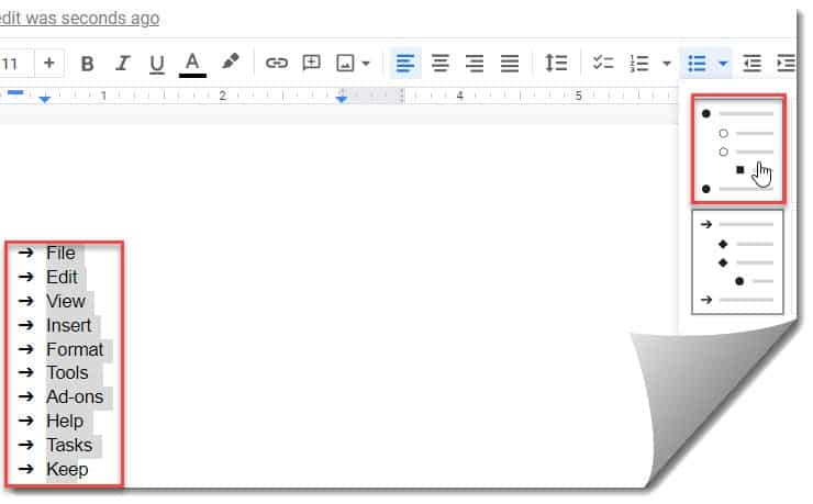 How To Add Bullet Points Side By Side In Google Docs