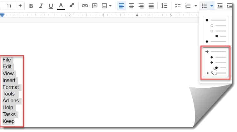 How To Put Bullet Points Side By Side In Google Docs