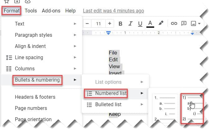 How to create Google Docs Multilevel List