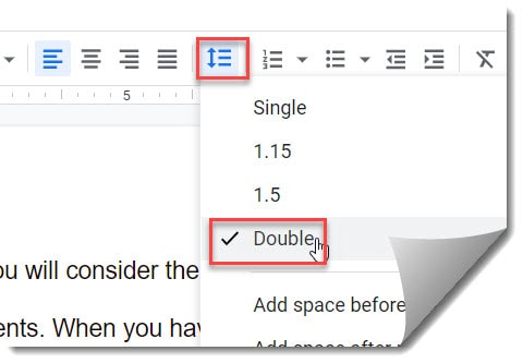How to double space on Google Docs using the toolbar option
