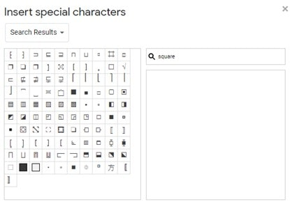 How to insert shapes in Google Docs using special characters