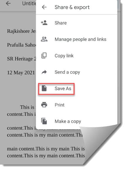 How to save Google docs to PDF on Android