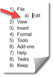 Steps to create Multilevel lists in Google docs