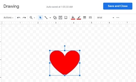 Steps to insert shapes in Google Docs using Google Drawing