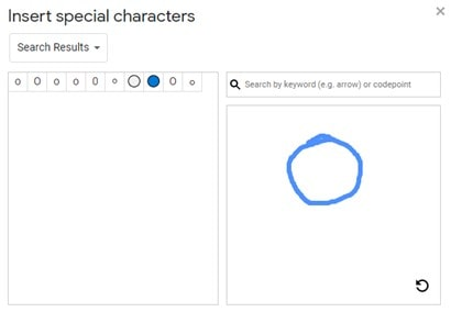 insert shapes in Google Docs using special characters