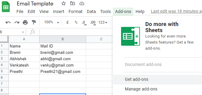 Google Docs Mail merge using third-party add-ons