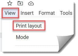How do I change the page view in Google Docs