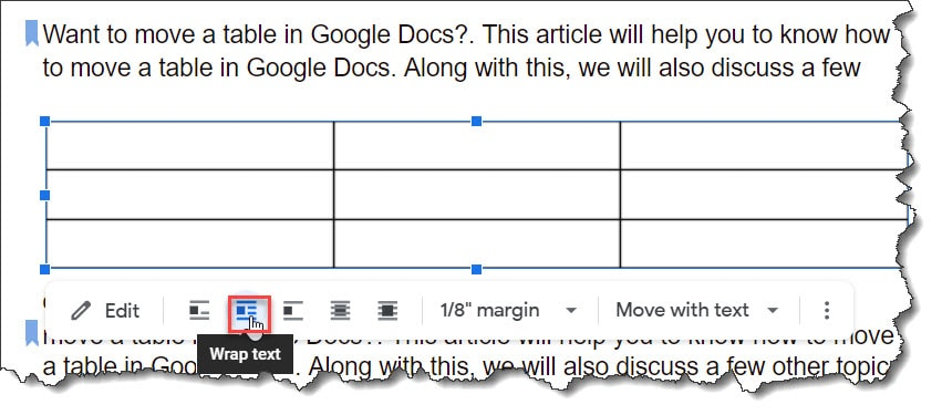How to Wrap Text Around A Table in Google Docs