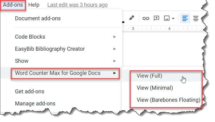 How to check word count on Google Docs using Word Counter Max Add-on