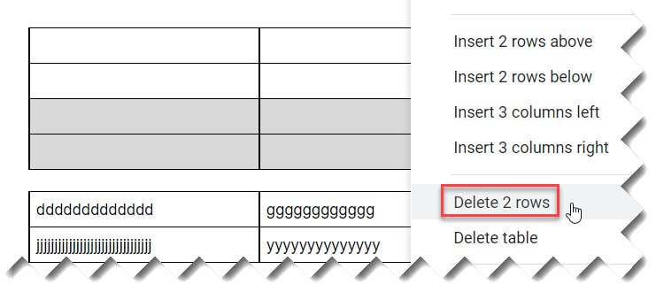How to insert a page break in Google Docs table