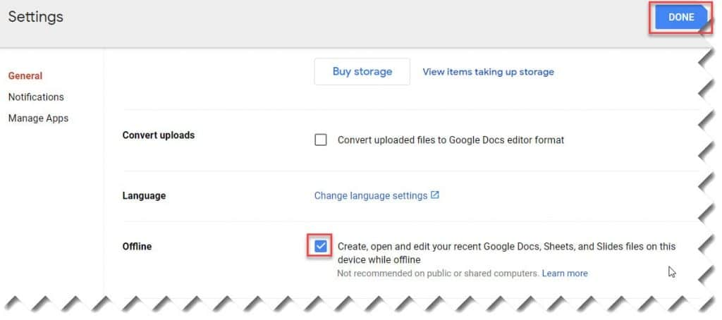 How to make Google Drive available offline Chromebook