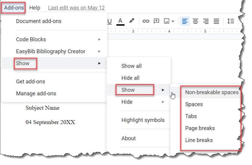 How to show Google Docs Formatting