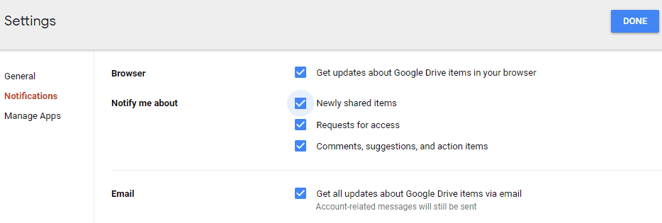 How to turn on Google Drive notifications?