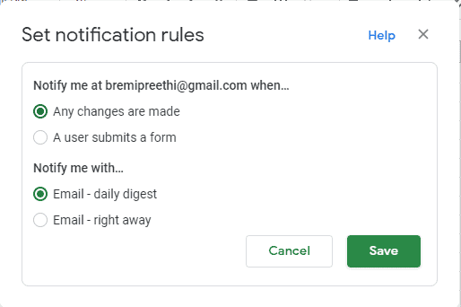 How to turn on Google Sheets notifications on your computer?