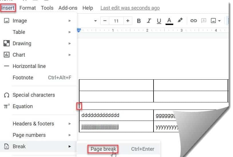 Insert Page Break In Google Docs Table