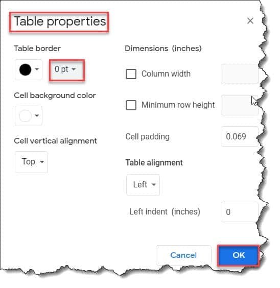 Put two Tables Side By Side Google Docs