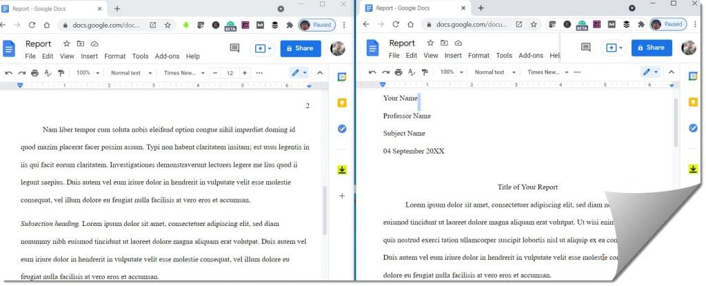 View Two Pages Side By Side In Google Docs