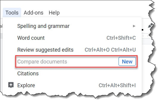 compare documents in google docs greyed out