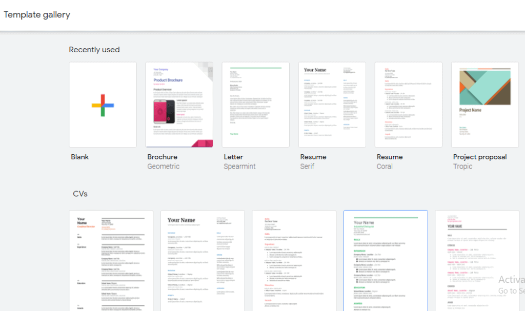 create a Google Docs template using existing templates