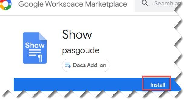 google doc show formatting marks