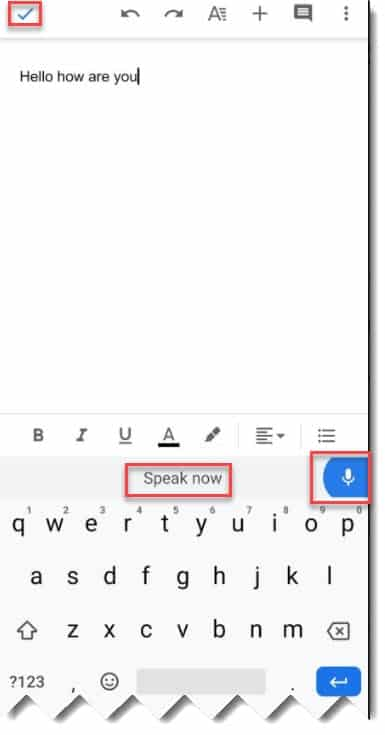 google docs speech to text android